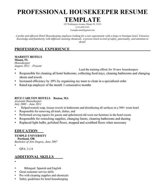 Housekeeping Resume Sheraton Grande Walkerhill  8  Sample Cover Letter  Pinterest