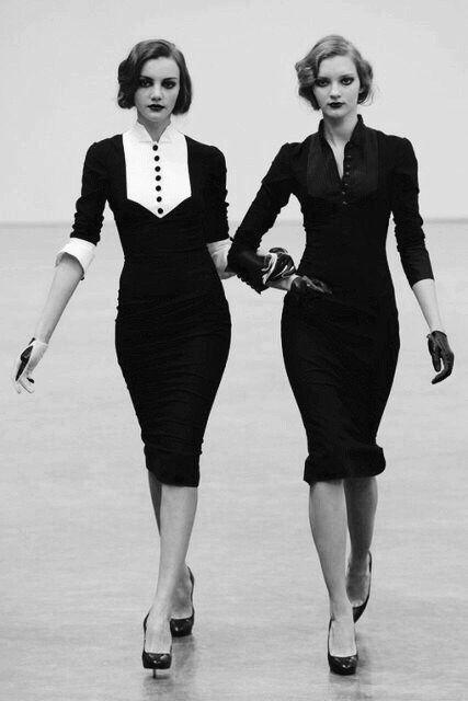 two elegant women in black