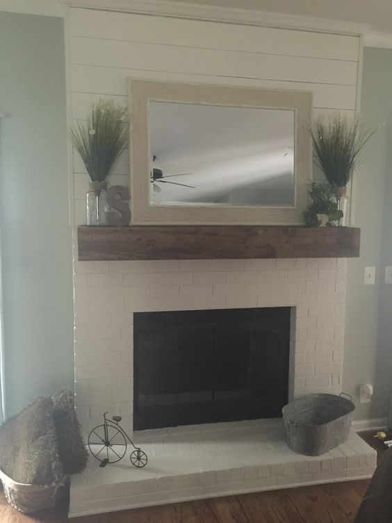 Faux ship lap fireplace and custom mantle | My projects ...