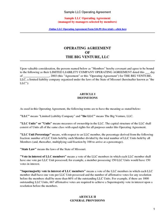 LLC Operating Agreement - Sample \ Template - llc partnership - liability agreement sample