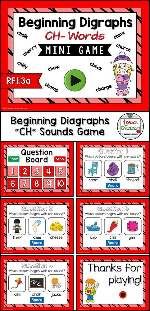 Practice spelling ch digraphs words win the fun no prep phonics powerpoint game. 10 questions makes it great practice for small groups, ELA, or word work centers. CCSS aligned!