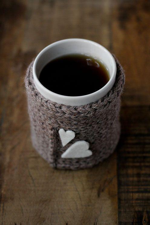 grey wool mug cover by vanigliacooking on Etsy
