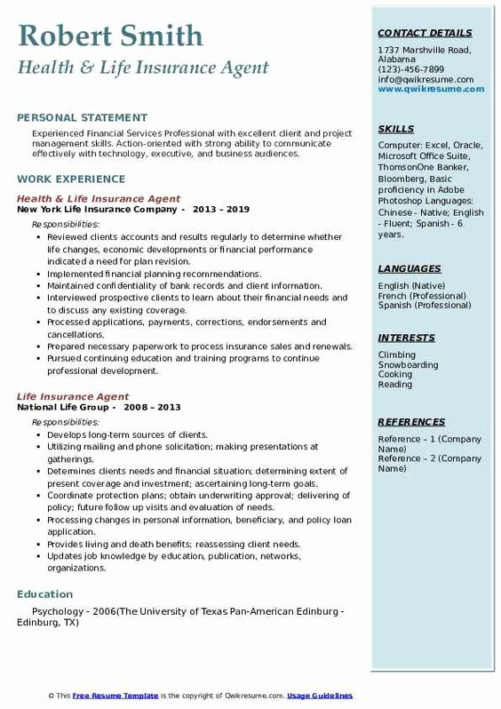 Insurance Agent Resume Job Description Fresh Life Insurance Agent