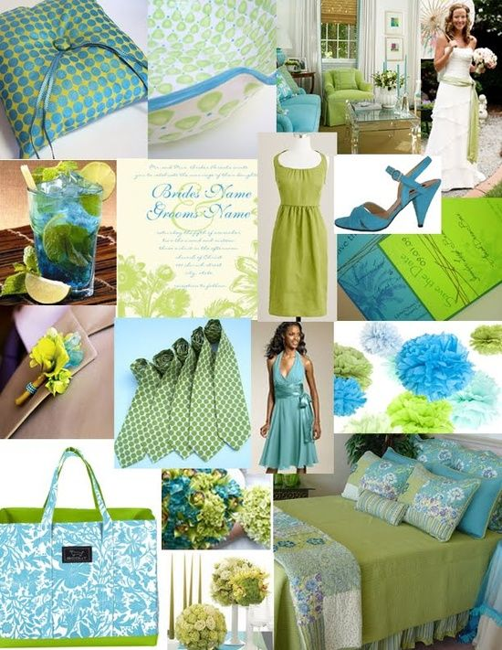 A Lime Green and Turquoise Wedding.  This is such awesome color combination for a destination or beach wedding!