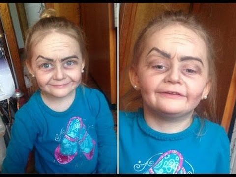 3 Year Old Girl With Old Lady Make Up Job Sweeps The Internet
