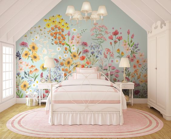 Wildflower Mural    Traditional or Removable • Vinyl-Free •  Non-toxic