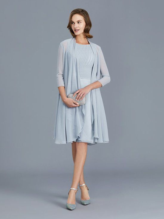 Light Skyblue Mother Of The Bride Dresses Knee Length Mother