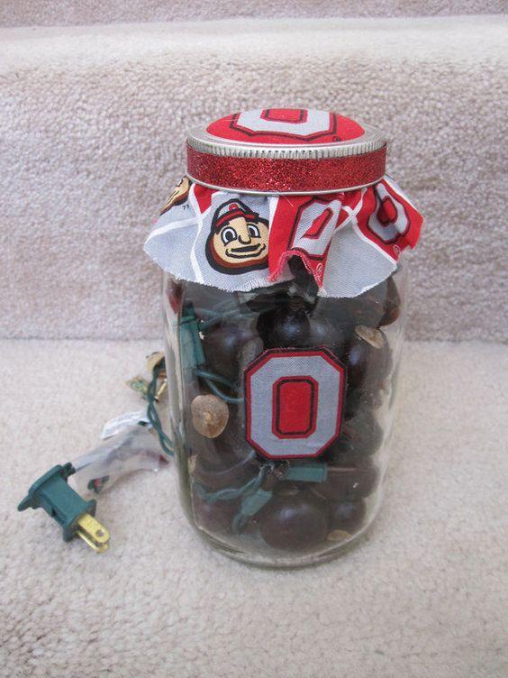 Ohio State Buckeyes One of a Kind Mason Jar Lamp Light and Made #OhioStateBuckeyes