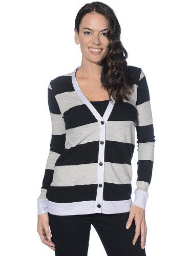 $108.00 nice Michael Stars Womens Rugby Stripe V-neck Cardigan