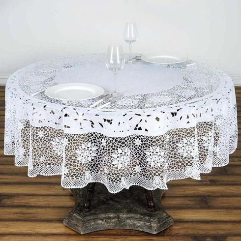 70 White 10 Mil Thick Lace Vinyl Waterproof Tablecloth Pvc Round Disposable Tablecloth In 2020 Vinyl Tablecloth Table Cloth Waterproof Tablecloth
