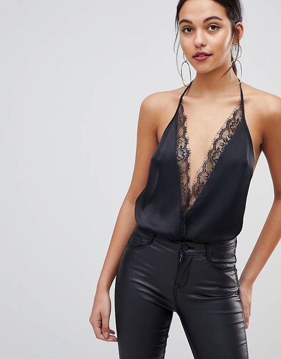 ASOS DESIGN - Body bordé de dentelle - Noir