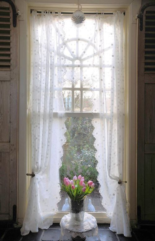 Lady-Gray-Dreams : Photo  ~ sheer window curtains and a tall window