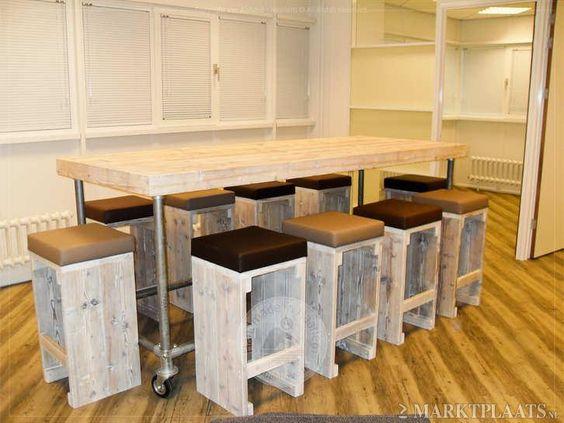 Sta -Tafel Steigerbuis Steigerhout incl Design Bar Krukken ...