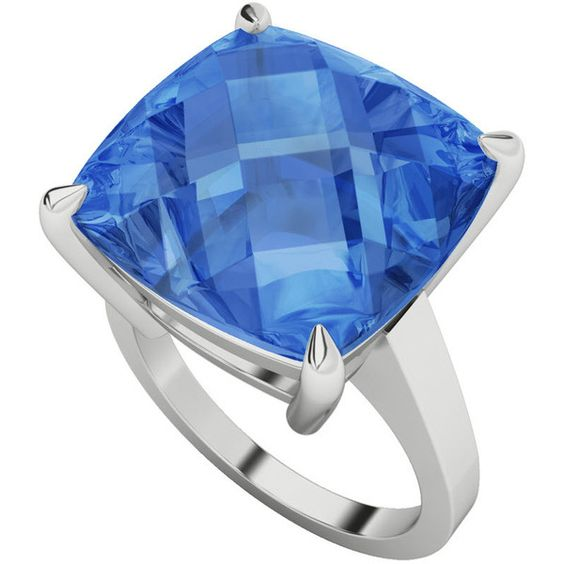 Women's Silver Ring by StyleRocks Blue topaz cushion checkerboard... (€815) ❤ liked on Polyvore featuring jewelry, rings, blue, blue topaz silver ring, sterling silver wedding rings, sterling silver rings, silver rings and silver wrap ring