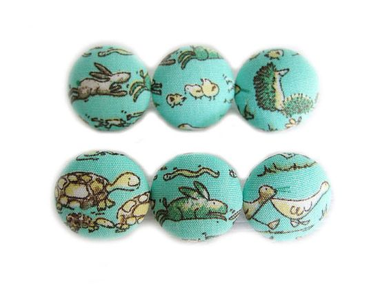 6 Small Fabric Buttons Set  Little Animals by heydayhandmade