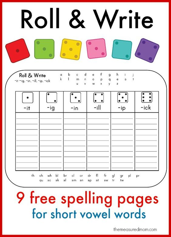 Roll Write for short vowel words Learn to spell short vowel words with these fun printables!