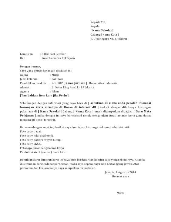 Surat Lamaran Kerja Guru Tk Surat Pendidikan Guru