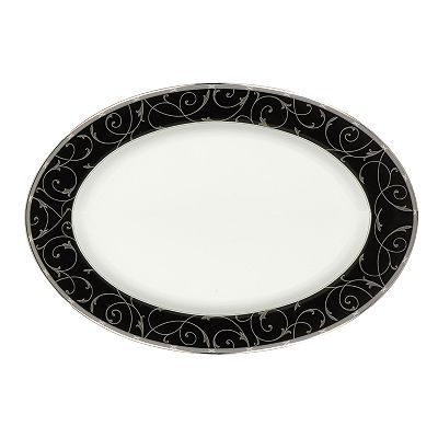 Mikasa Elegant Scroll Black Oval Serving Platter