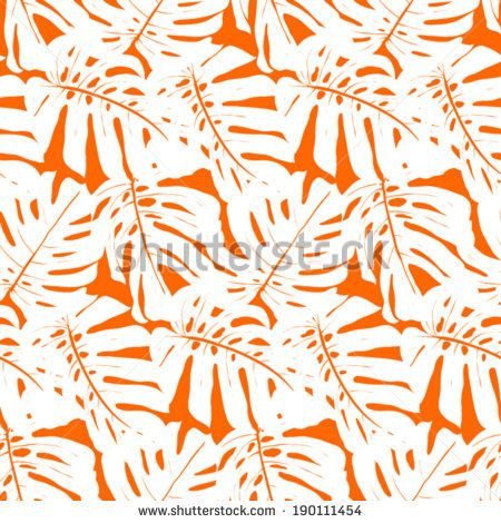 Vector seamless pattern with leaves inspired by tropical nature and plants like palm trees and monstera leaf in bright orange and white colors by tukkki