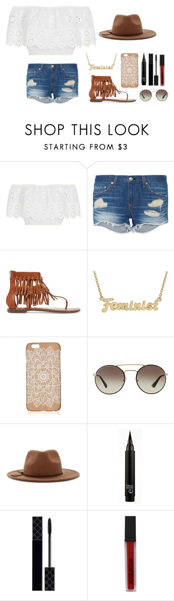 """""""Day out with the squad"""" by clairebear89 ❤ liked on Polyvore featuring Miguelina, rag & bone, Sam Edelman, me you, Prada, Forever 21, Gucci and Smashbox"""