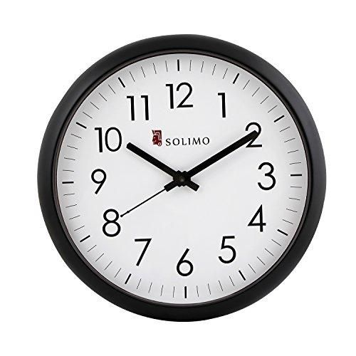 Amazon Brand Solimo 11 Inch Wall Clock Silent Movement Black Frame Clock Wall Clock Silent Frame