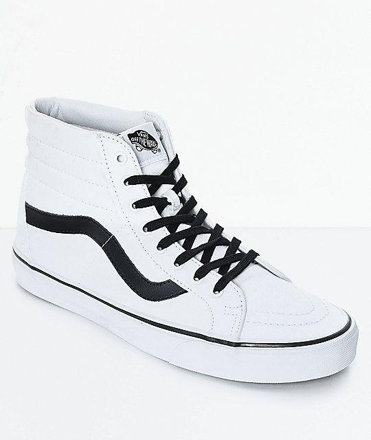 Vans Sk8 Hi Reissue True White Black Skate Shoes Zumiez Shoes Skate Shoes Vans