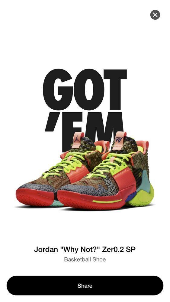 Nike Own The Game Jordan Why Not Zero 2 Sz10 5 Westbrook All Star