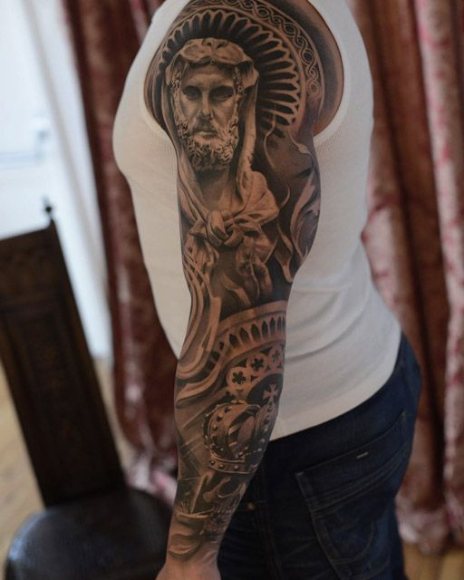 relligious tattoo full sleeve tatto idea pinterest. Black Bedroom Furniture Sets. Home Design Ideas