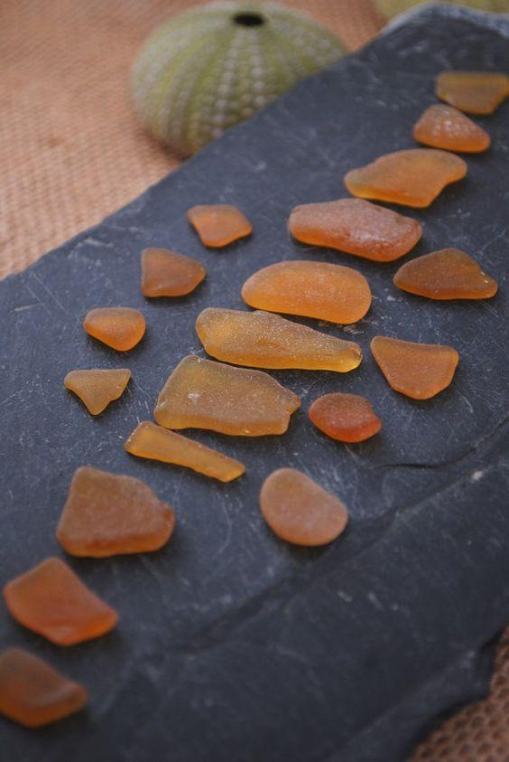Yellow and orange sea glass. Natural sea glass from Mediterranean Sea. Genuine sea glass - 19 pics. REF a40