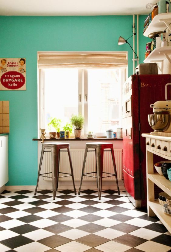 Teal And Red Kitchen Black And White Checkered Floor