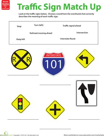 Worksheet Traffic Warning Signs Matching Preview 1 | Drivers ...