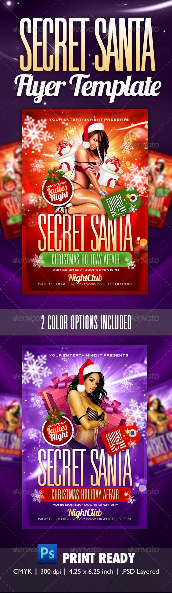 Secret Santa Party Flyer Template | Christmas parties, Snowflakes ...