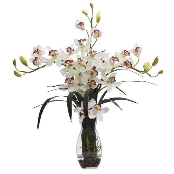 SIERRA ACCESSORIES Triple Cymbidium w/Vase Arrangement, White