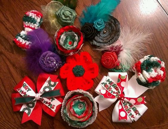 Christmas Bows, a few of 213 bows & headbands made & donated by Gwen to Bow Dazzling, for donation to local hospitals for girls receiving treatment for cancer and other life threatening illnesses.  www.facebook.com/BowDazzling