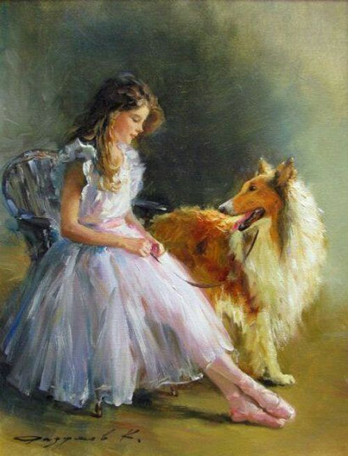 Konstantin Razumov Girl With Collie Dog Paintings Rough