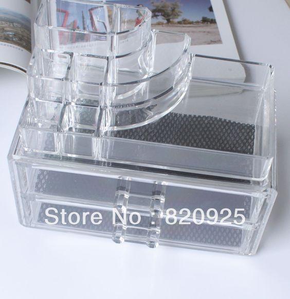 1x transparente de acrílico del gabinete casos cosméticos de maquillaje organizador cajones caja de presentación