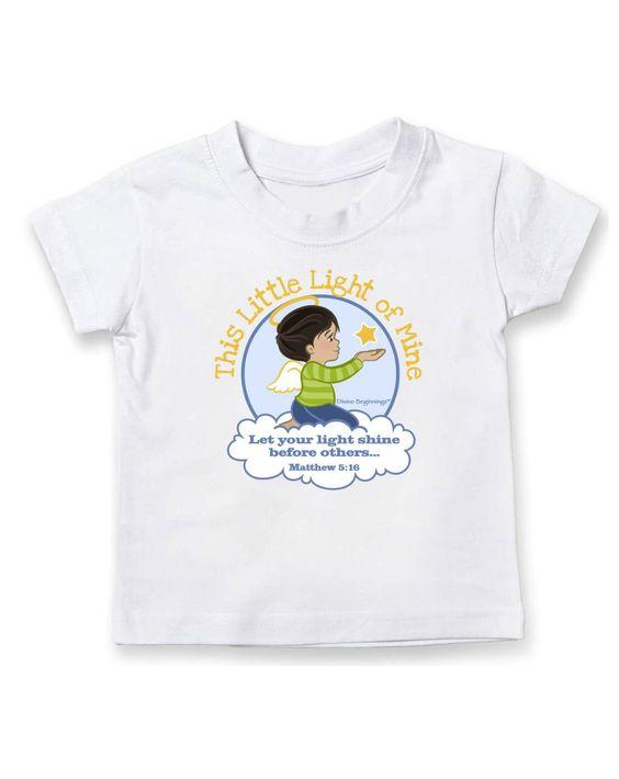 This Little Light of Mine - Boy's Crew Neck T-Shirt Hispanic/English - Dark Hair