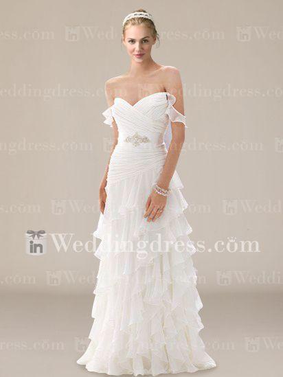 Robe de mari�e en mousseline de soie � volants avec des perles DE203