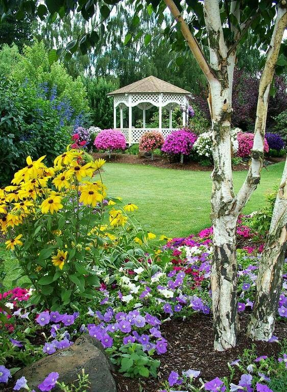 Gazebo among the flowers: