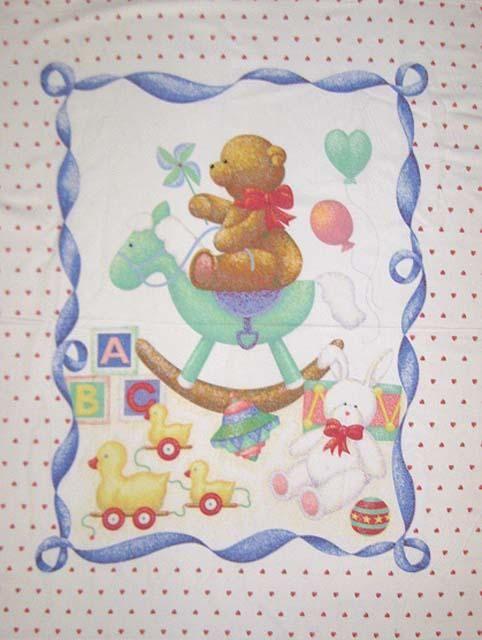 "Carousel Stuffed Animals Children 100/% cotton Fabric by the panel 35/"" X 43/"""