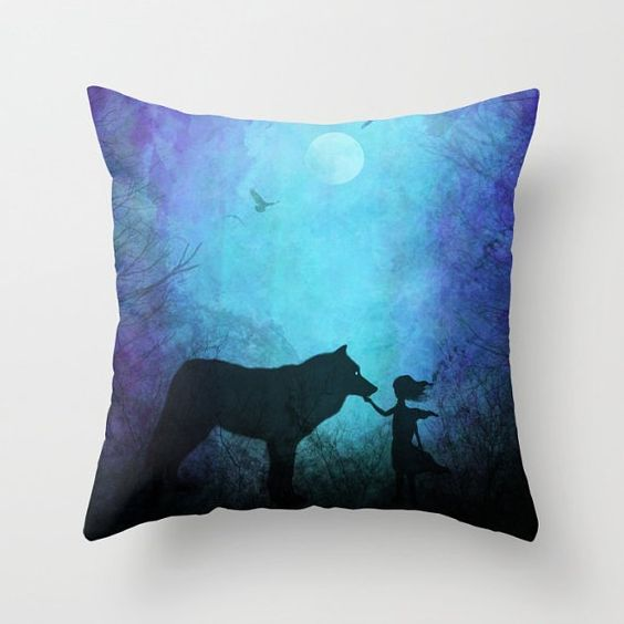 Throw pillow decorative pillow dorm pillow wolf art wolf