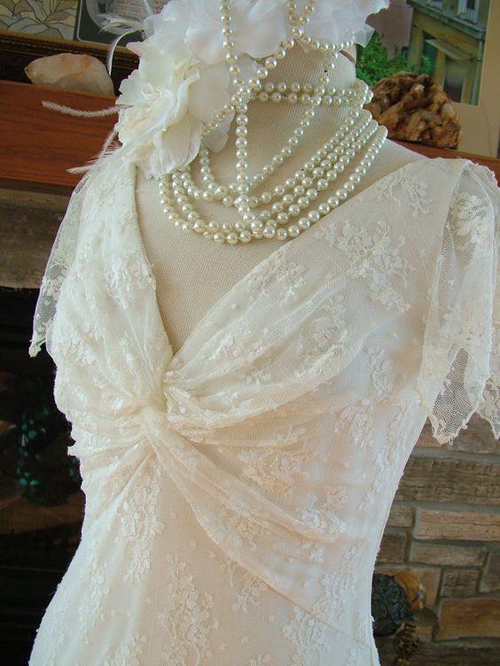 Wedding dress vintage lace in a 1930s bias by RetroVintageWeddings, $350.00