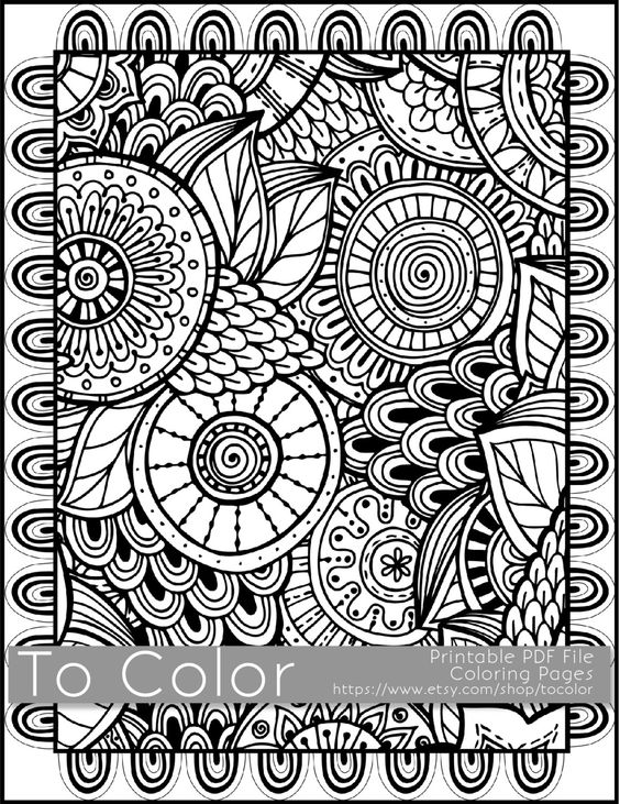 Grown Up Coloring Pages Pdf : Printable coloring pages for adults all over large doodle