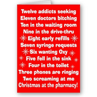 pharmacy xmas card = day in my life