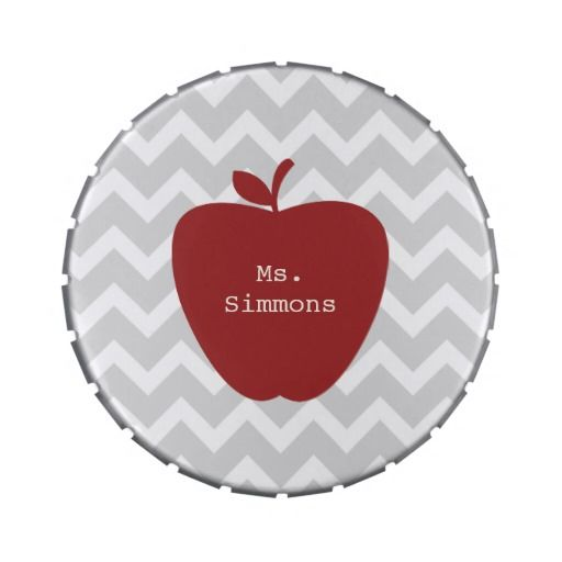 Gray Chevron & Red Apple Teacher Candy Tins from The Pink Schoolhouse