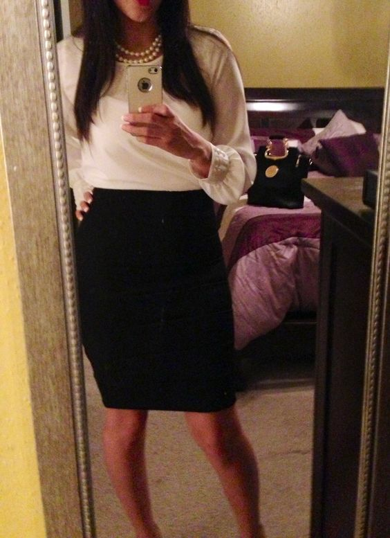 Pearls,pencil skirt. Loving the outfit