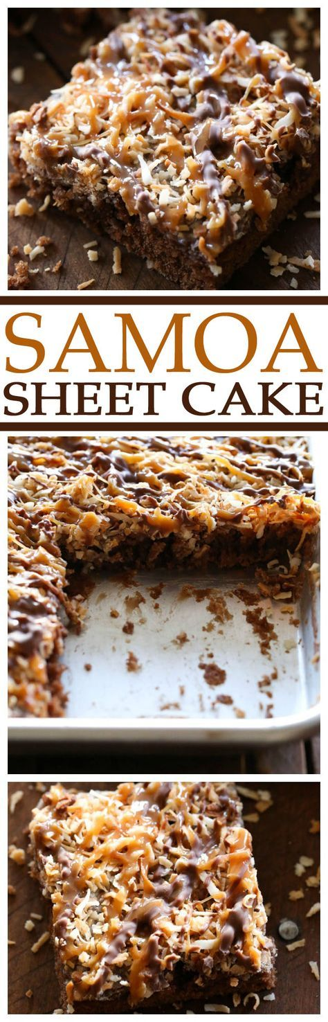 "Samoa Sheet Cake Recipe via Chef in Training ... this has been deemed one of ""Chef in Training""'s Top 5 favorite recipes on her blog! It is one of the best desserts you will ever taste! The Best EASY Sheet Cakes Recipes - Simple and Quick Party Crowds Desserts for Holidays, Special Occasions and Family Celebrations #sheetcakerecipes #sheetcake #sheetcakes #cakerecipes #cakes #dessertforacrowd #partydesserts #christmasdesserts #thanksgivingdesserts #newyearseve #birthdaydesserts"