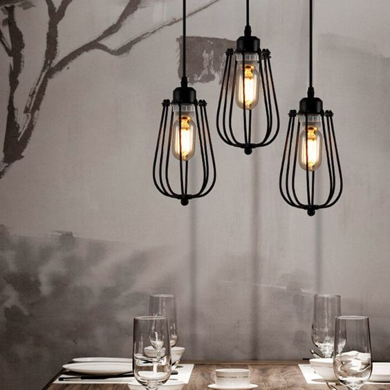 Plafonnier industriel lustre e27 suspension vintage edison for Luminaire suspendu noir