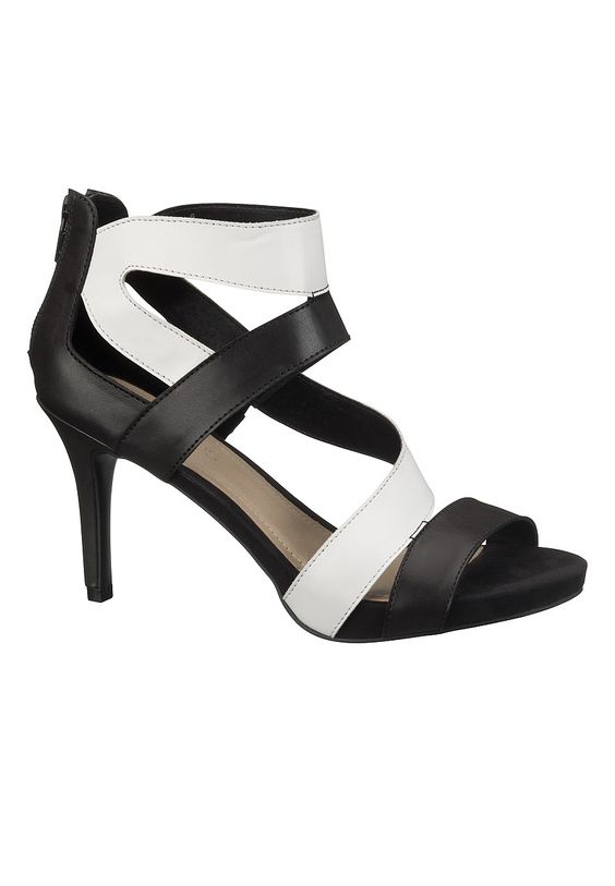 Libby Black and white Strap Pump