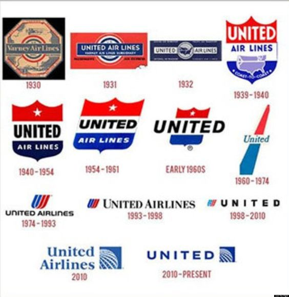 Look 90 Years Of Airline Logos Airline Logo United Airlines Airline Company